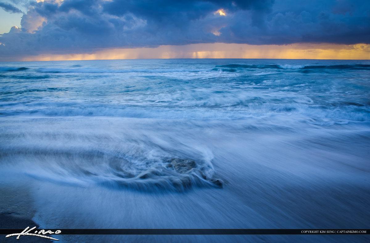 Receeding Wave at Juno Beach Florida Storm