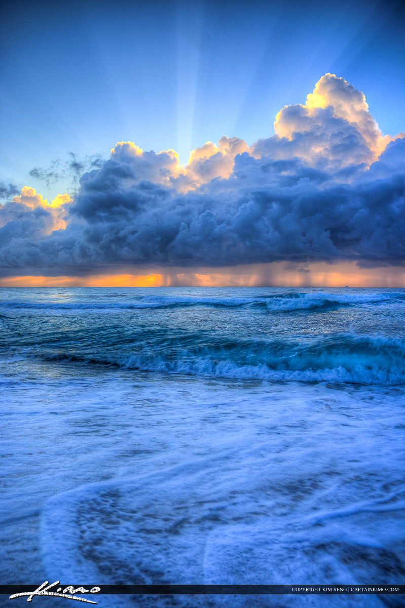 Sun Rays During Sunrise Over Atlantic Ocean