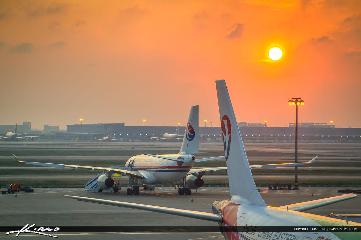 Sunset at Shanghai International Airport China
