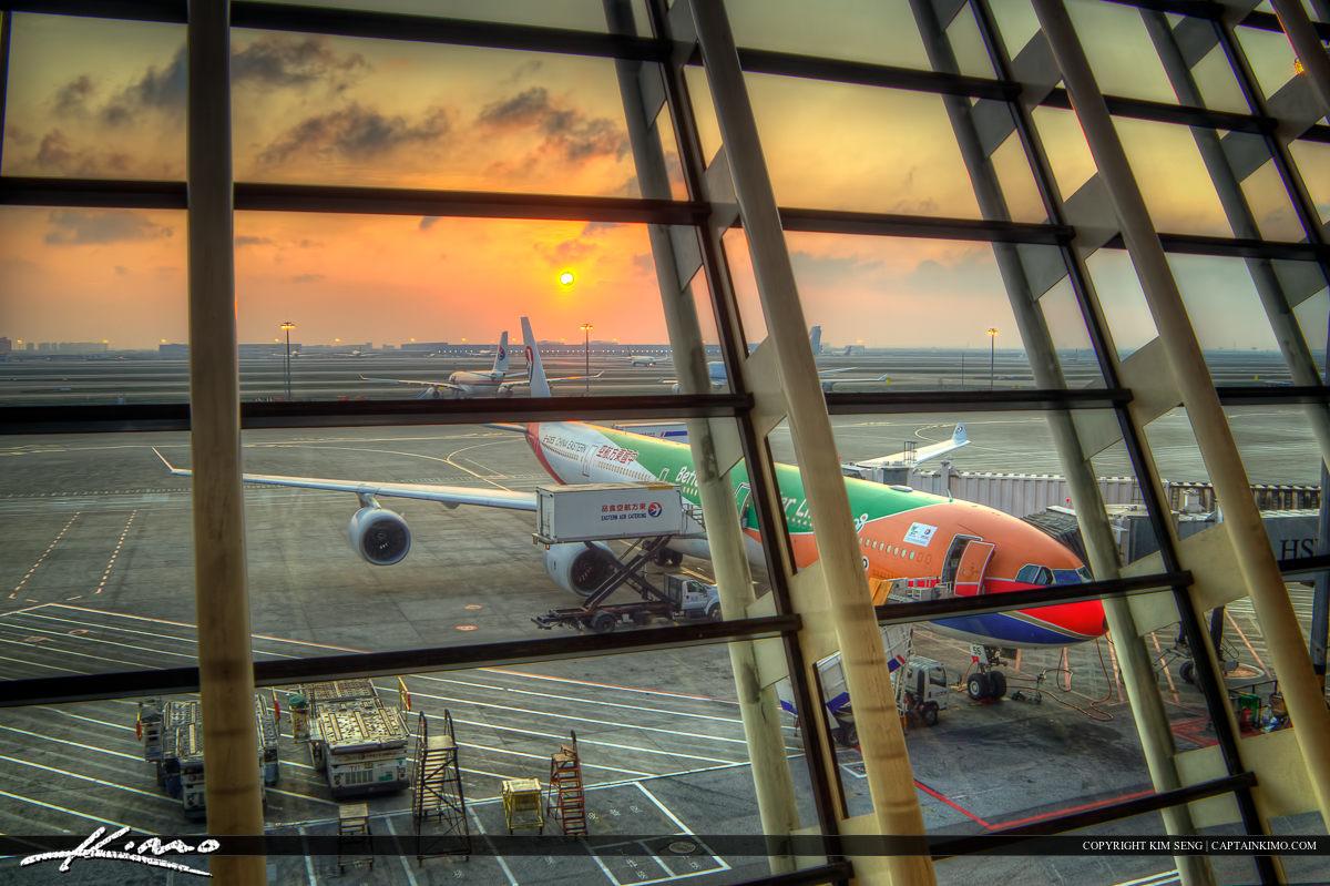 Sunset Airport Shanghai China
