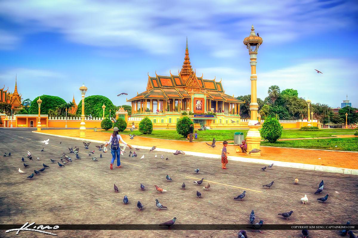Pegions at Park Phnom Penh Cambodia