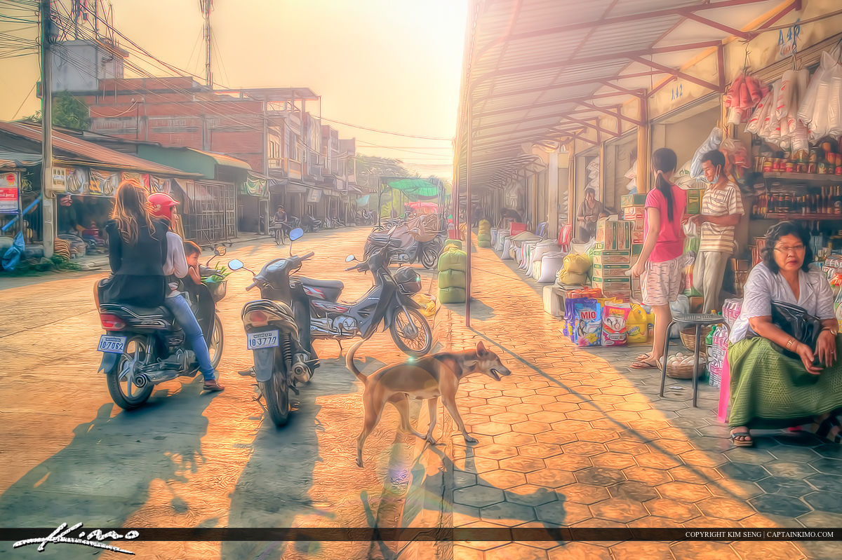Market Battambang Cambodia Early Morning Light