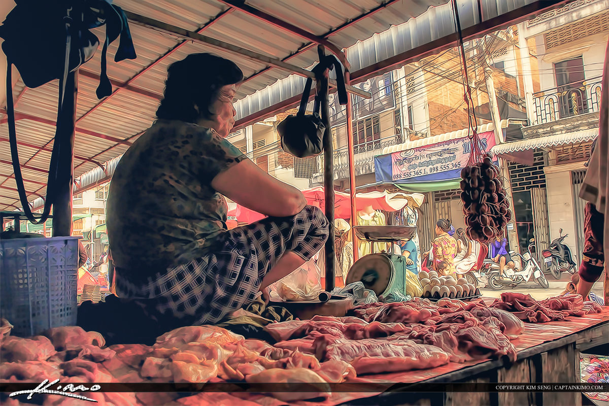 Lady Selling Meat at Khmer Market Battambang