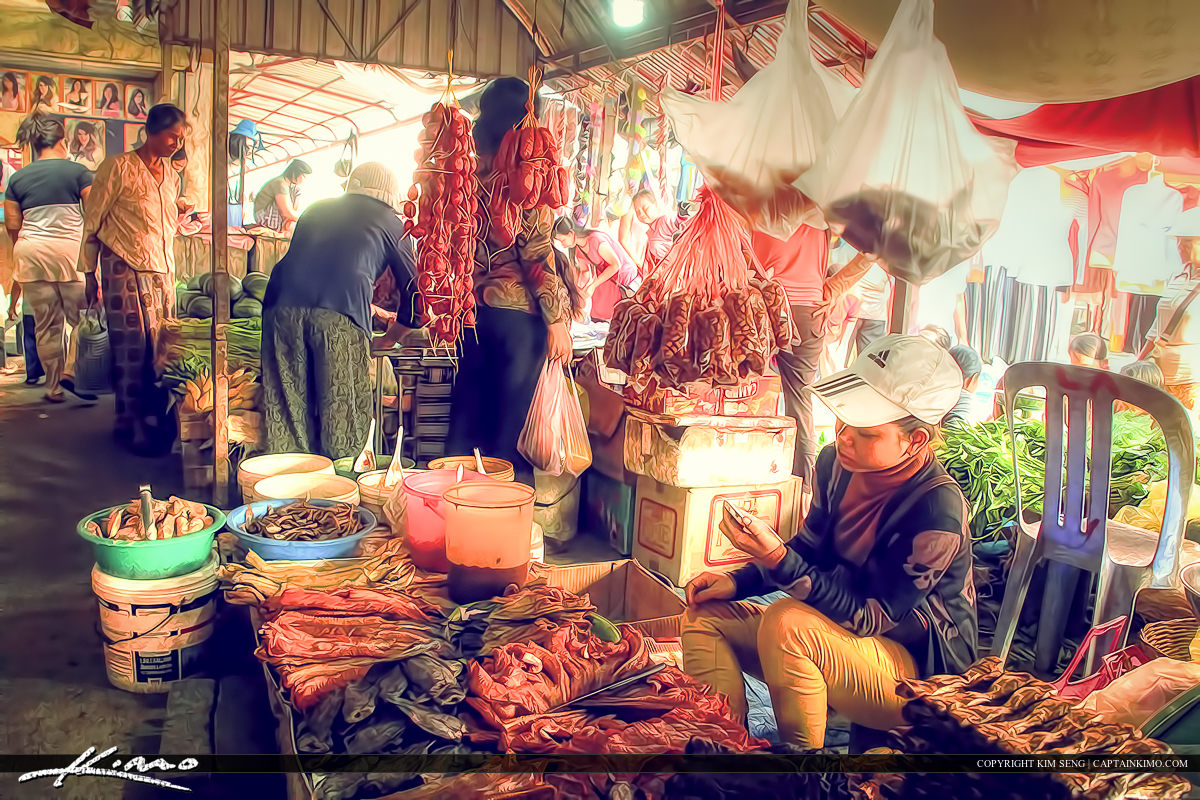 Lady Selling Food at Market Cambodia