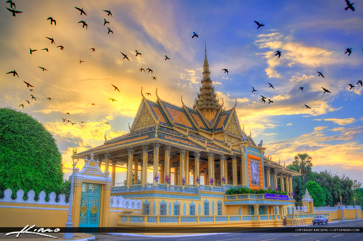 HDR Image of the Temple at Phnom Penh Cambodia