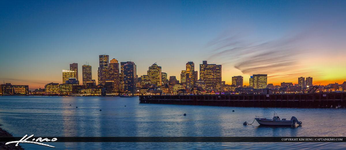 Boston Skyline from Piers Park Massachusetts