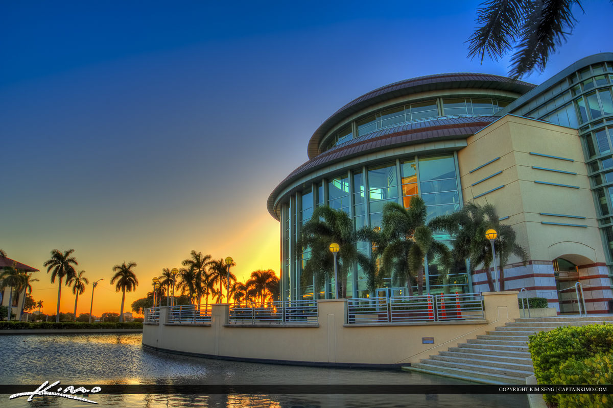 Sunset at the Kravis Center Building West Palm