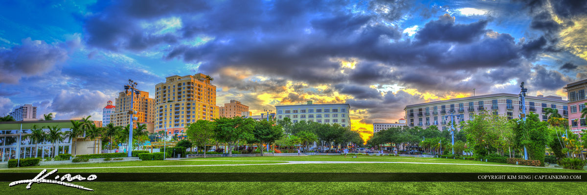 Sunset at Flagler Park in Downtown West Palm Beach