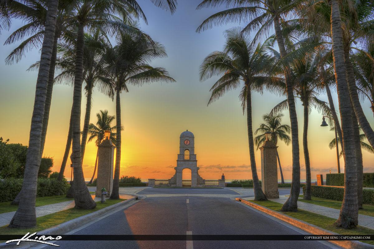 Sunrise at Worth Avenue on Palm Beach Island
