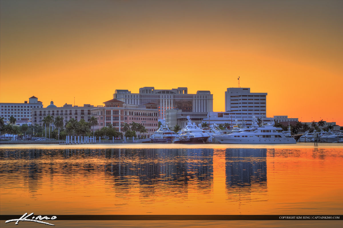 Palm Beach County Courthouse Sunset Over Waterway