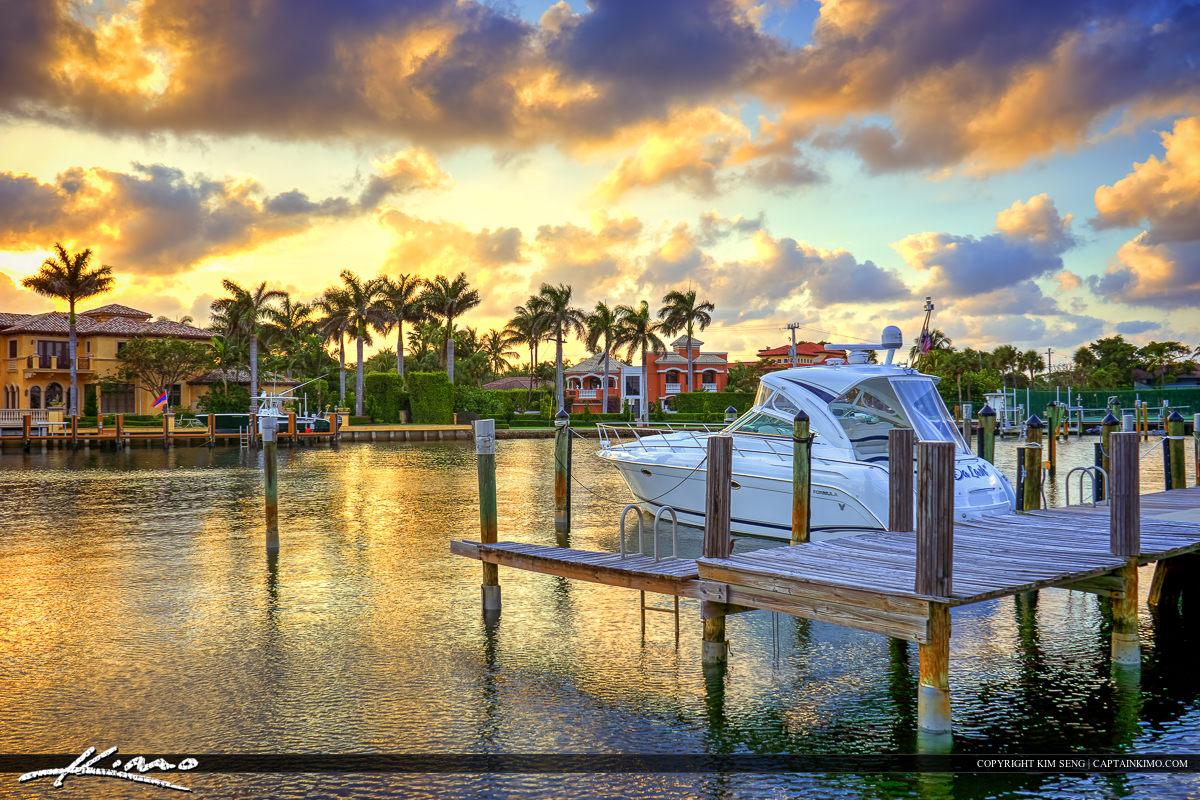 Boca Raton Boat at Dock at Waterfront Property