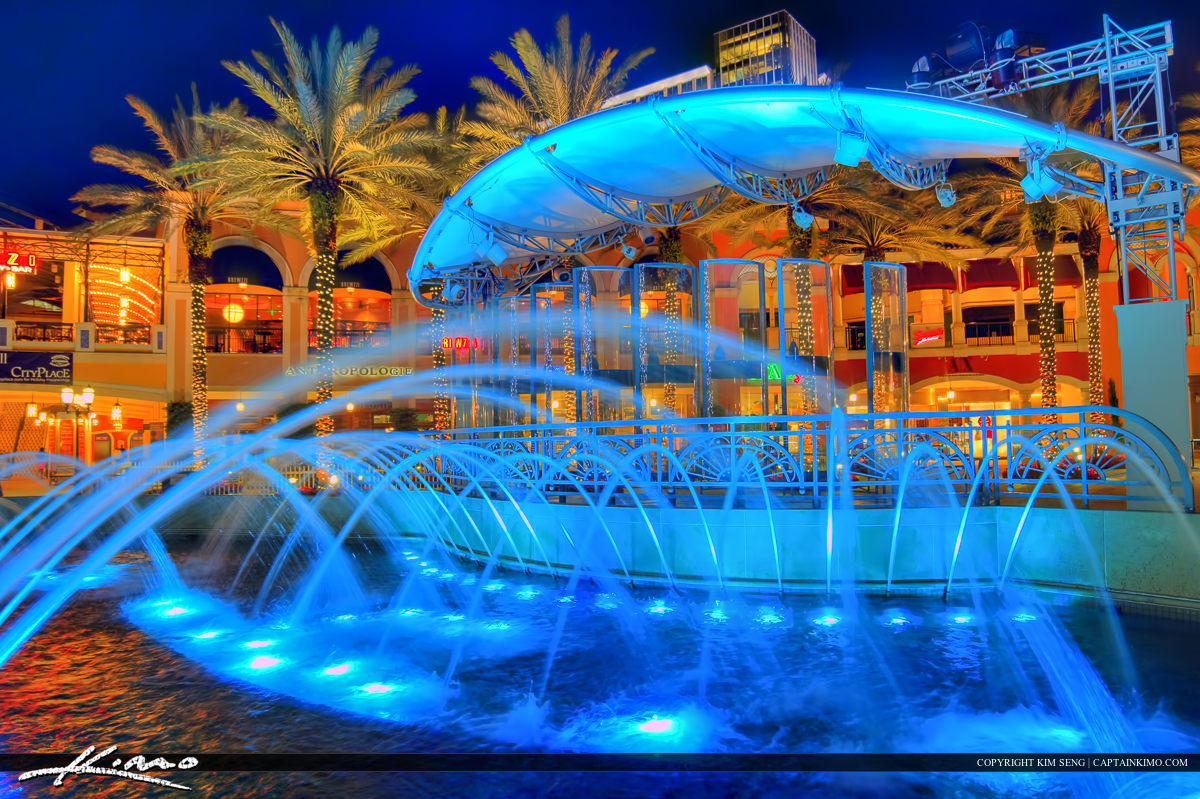 Blue Lights Water Fountain in Cityplace West Palm Beach