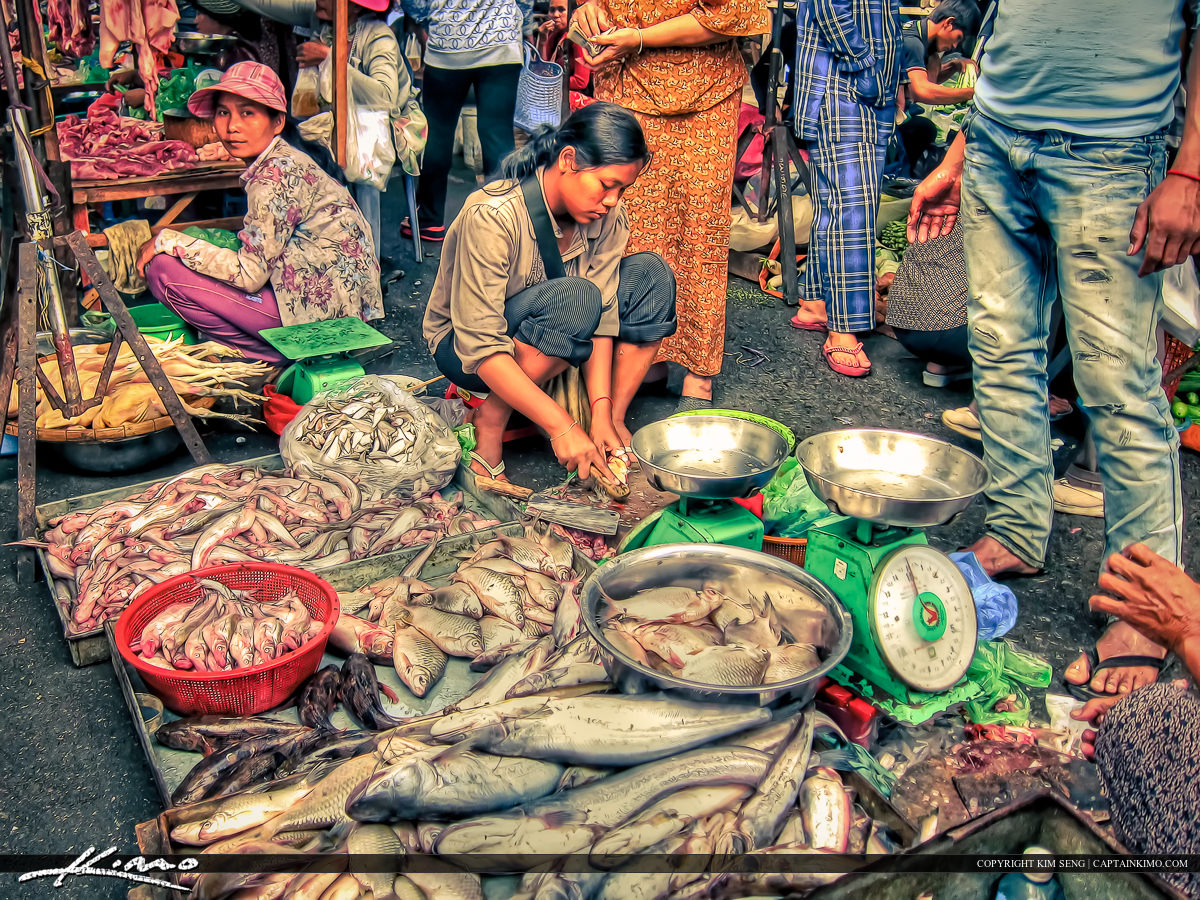 Woman Selling Fish at the Market in Phnom Penh Cambodia