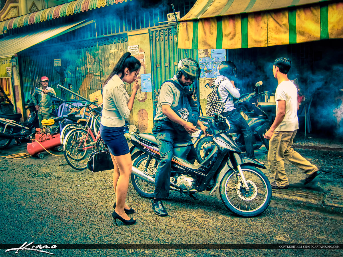 Woman Riding Scooter Taxi Phnom Penh Cambodia