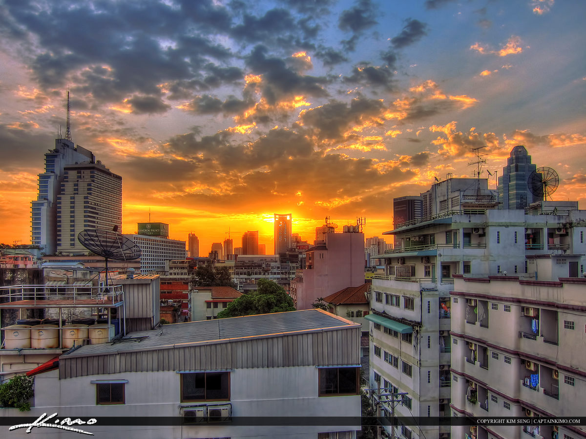 Sunrise Over the City in Bangkok Thailand