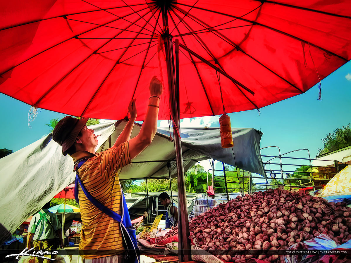Setting the Market in Thailand Selling Food