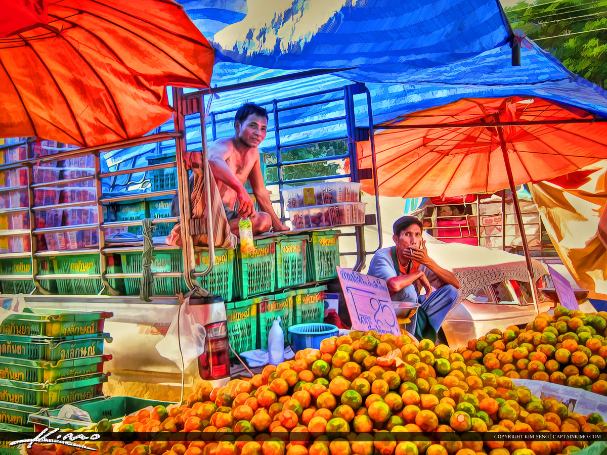 Selling Oranges in Thailand from a Truck