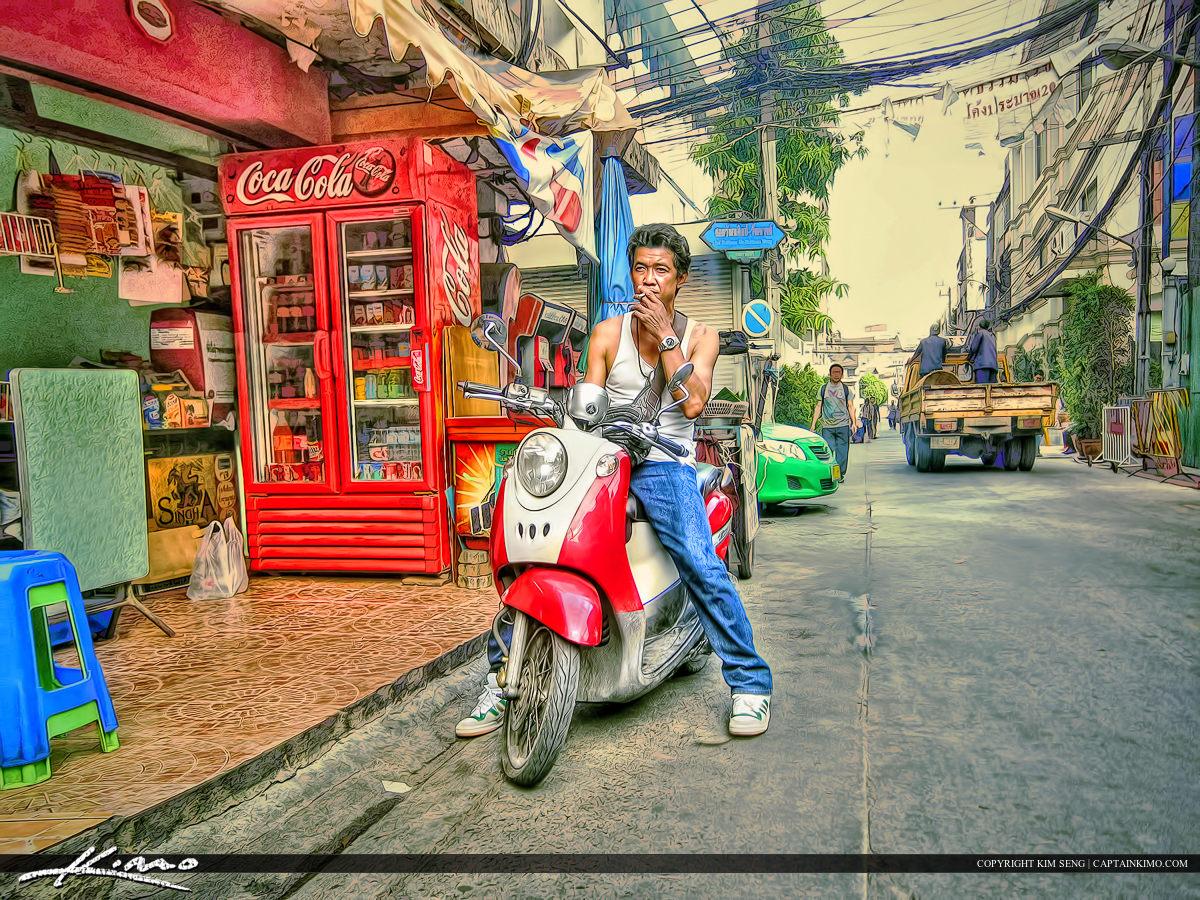 Man Smoking Bangkok Thailand