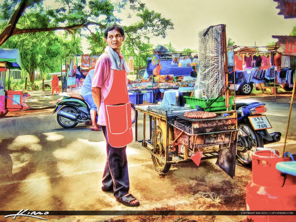 Man Selling Sausage Balls in Thailand
