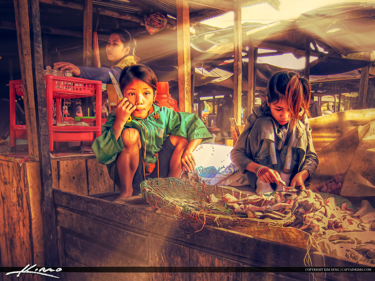 Children Working at the Market in Cambodia