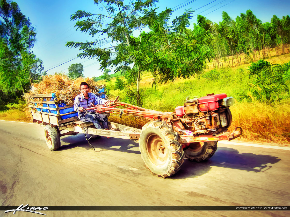 Boy Riding Tractor on Country Road Thailand