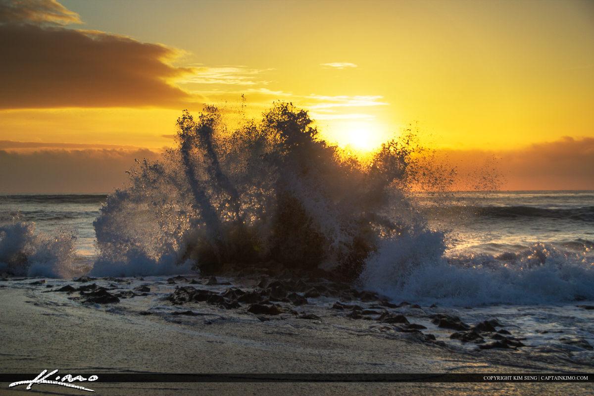 Wave Spash on Rock Sunrise at Beach