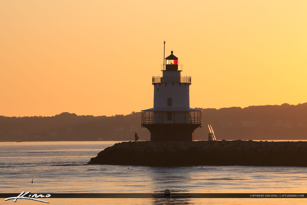 Warm golden light at lighthouse in South Portland Maine