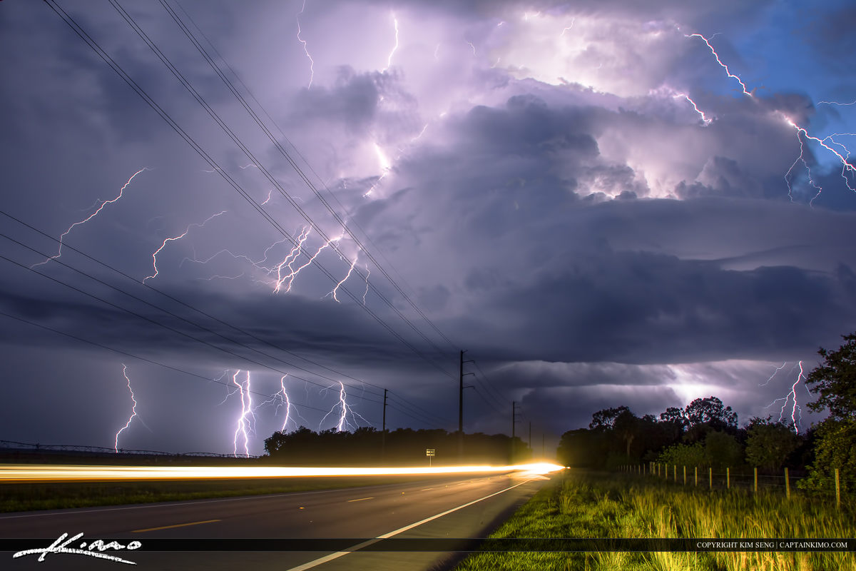 Thunder Road Lightning Storm Over Florida