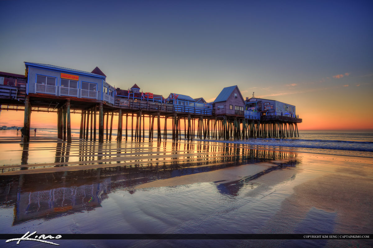 The pier at sunrise old Orchard Beach Maine