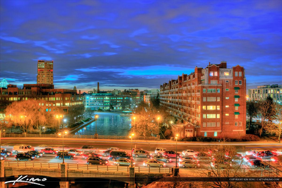 The city of Boston Massachusetts at night with traffic