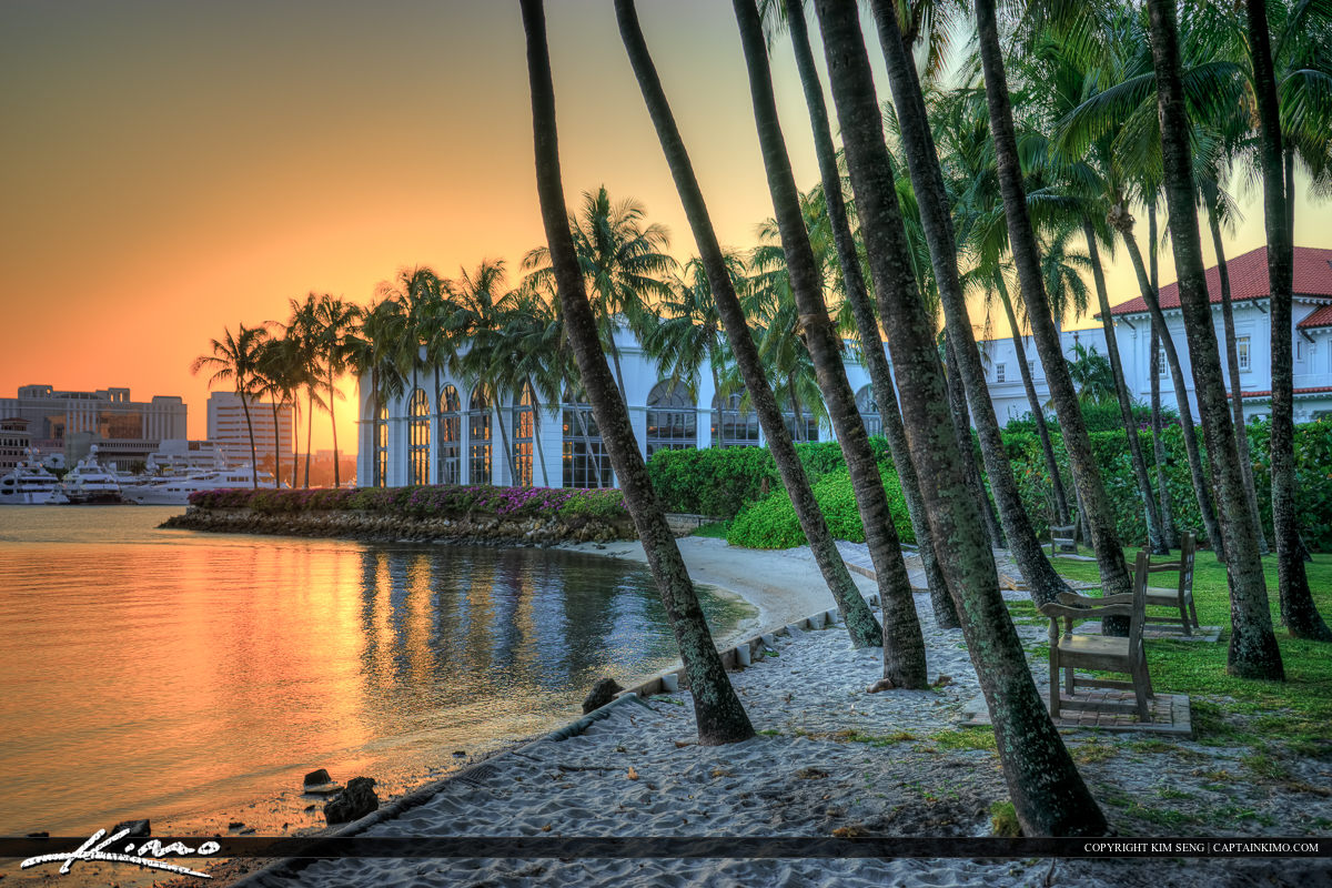 Sunset at Flagler Museum by Coconut Trees