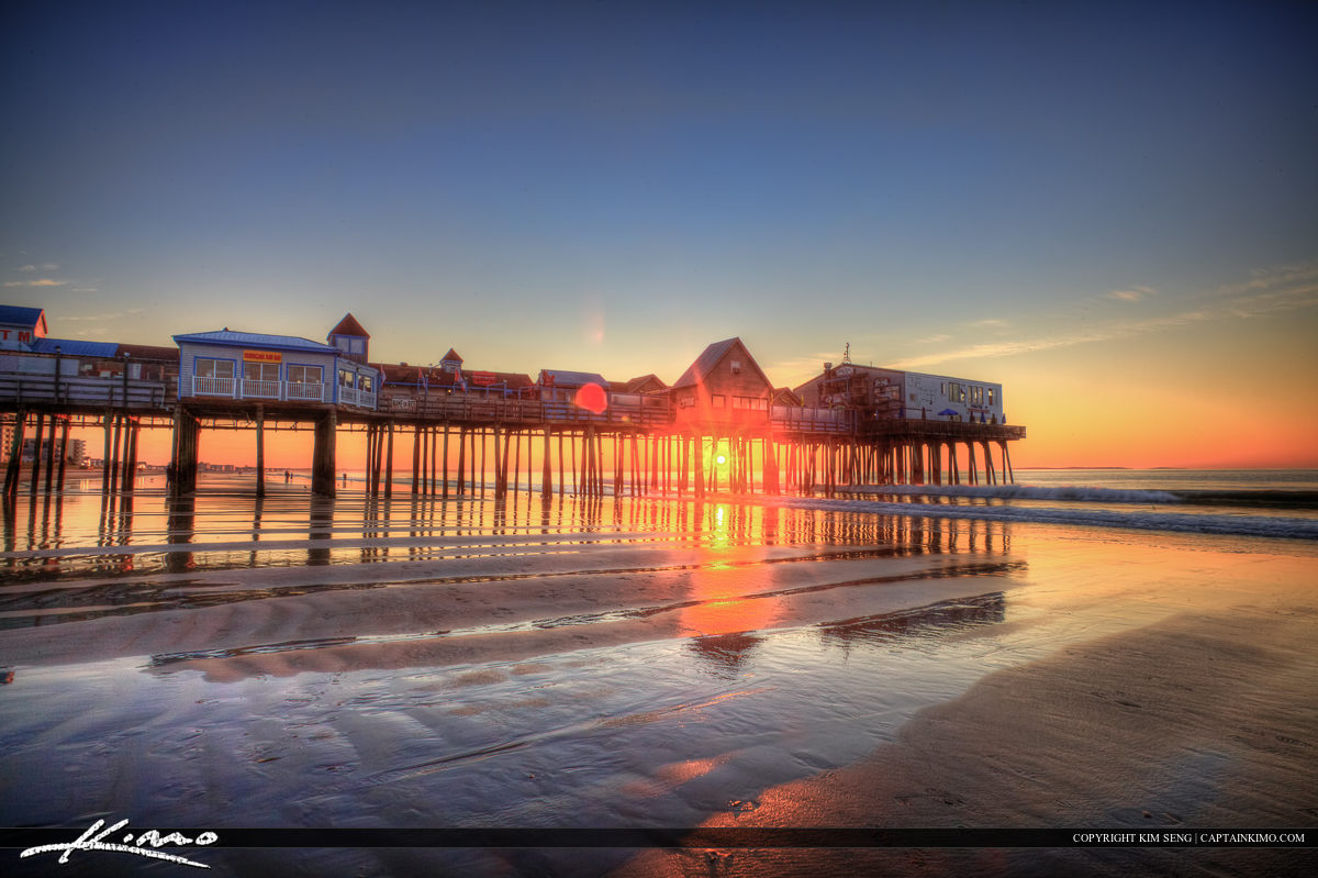 Sunrise at old Orchard Beach Maine with nice sand