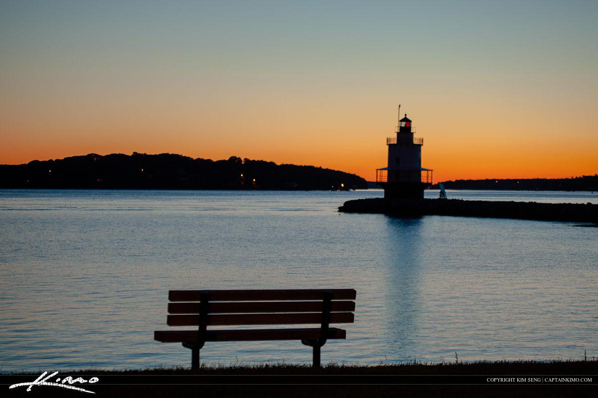 Spring point ledge island lighthouse at South Portland Maine