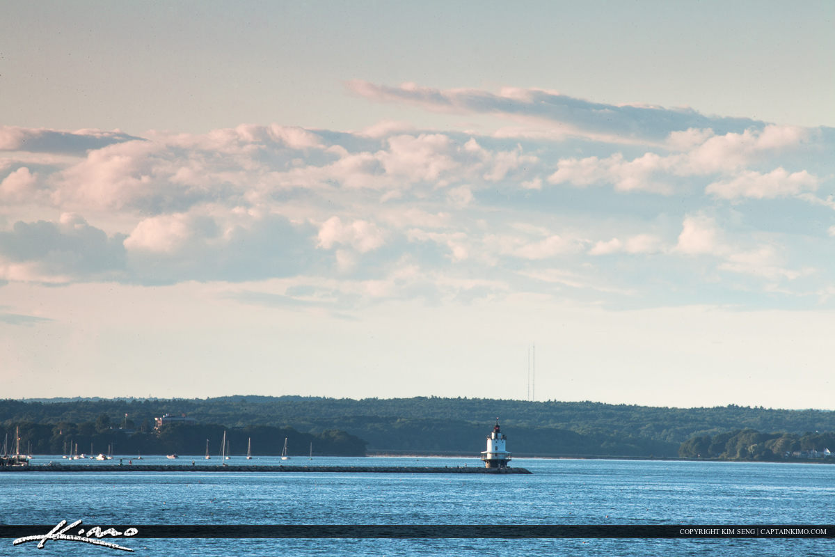 Spring ledge lighthouse South Portland Maine from Fort Williams