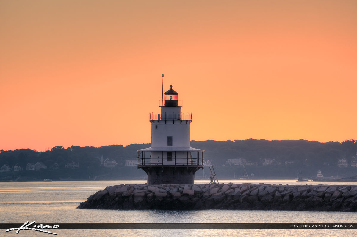 Small lighthouse at Portland Harbor in Maine