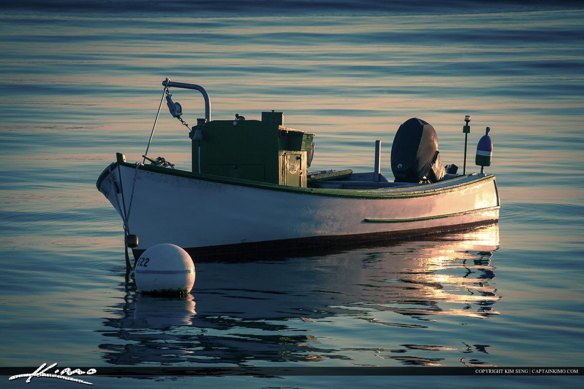 Small fishing boat anchored off Portland Harbor