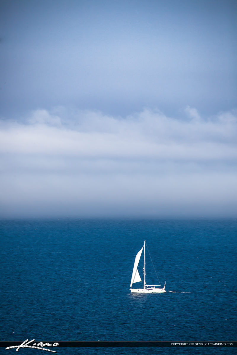 Sailboat in the fog Acadia national Park