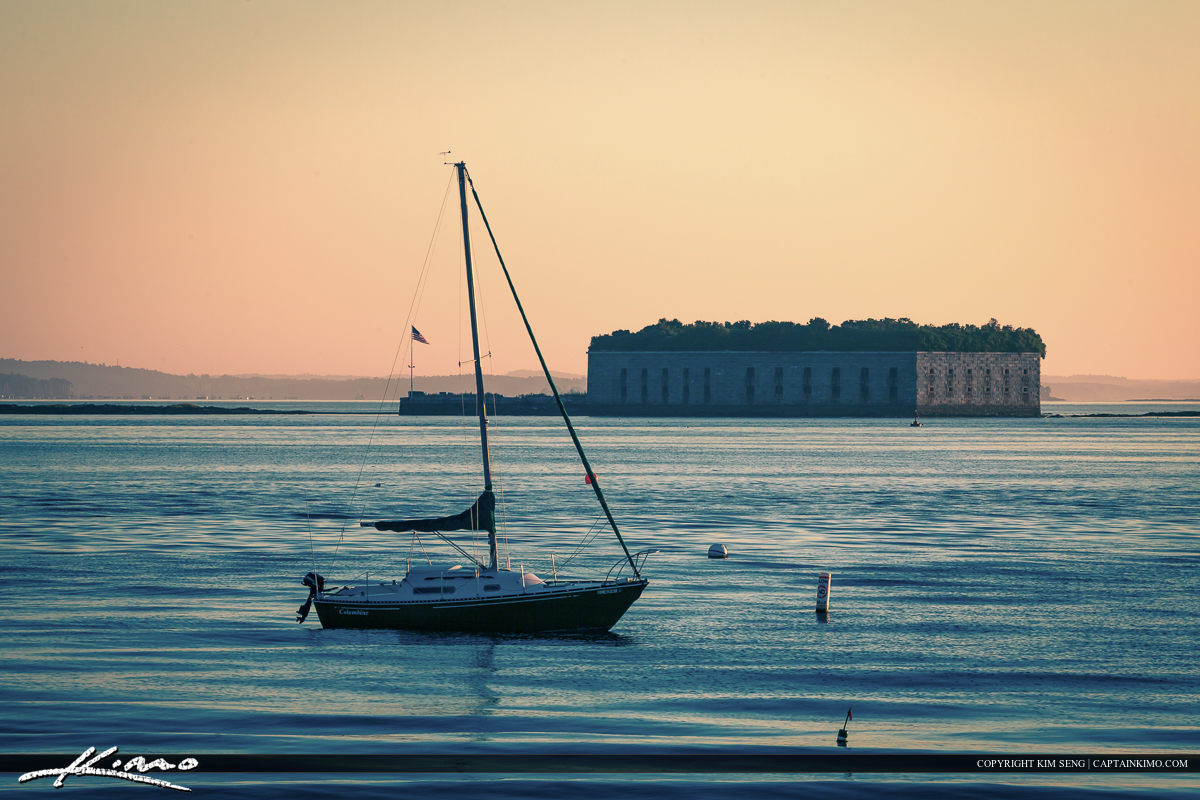 Sailboat at South Portland Maine with old Fort