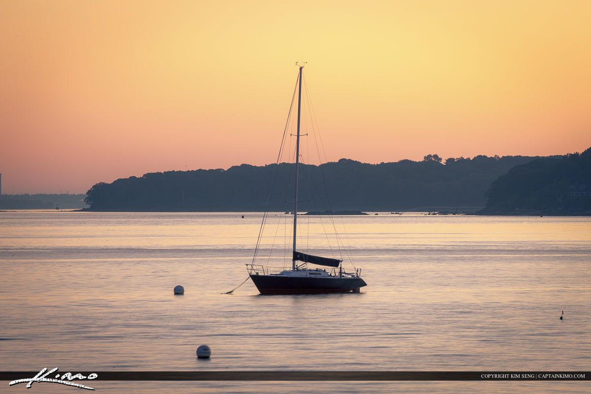 Sailboat anchored off Portland Harbor in South Portland Maine