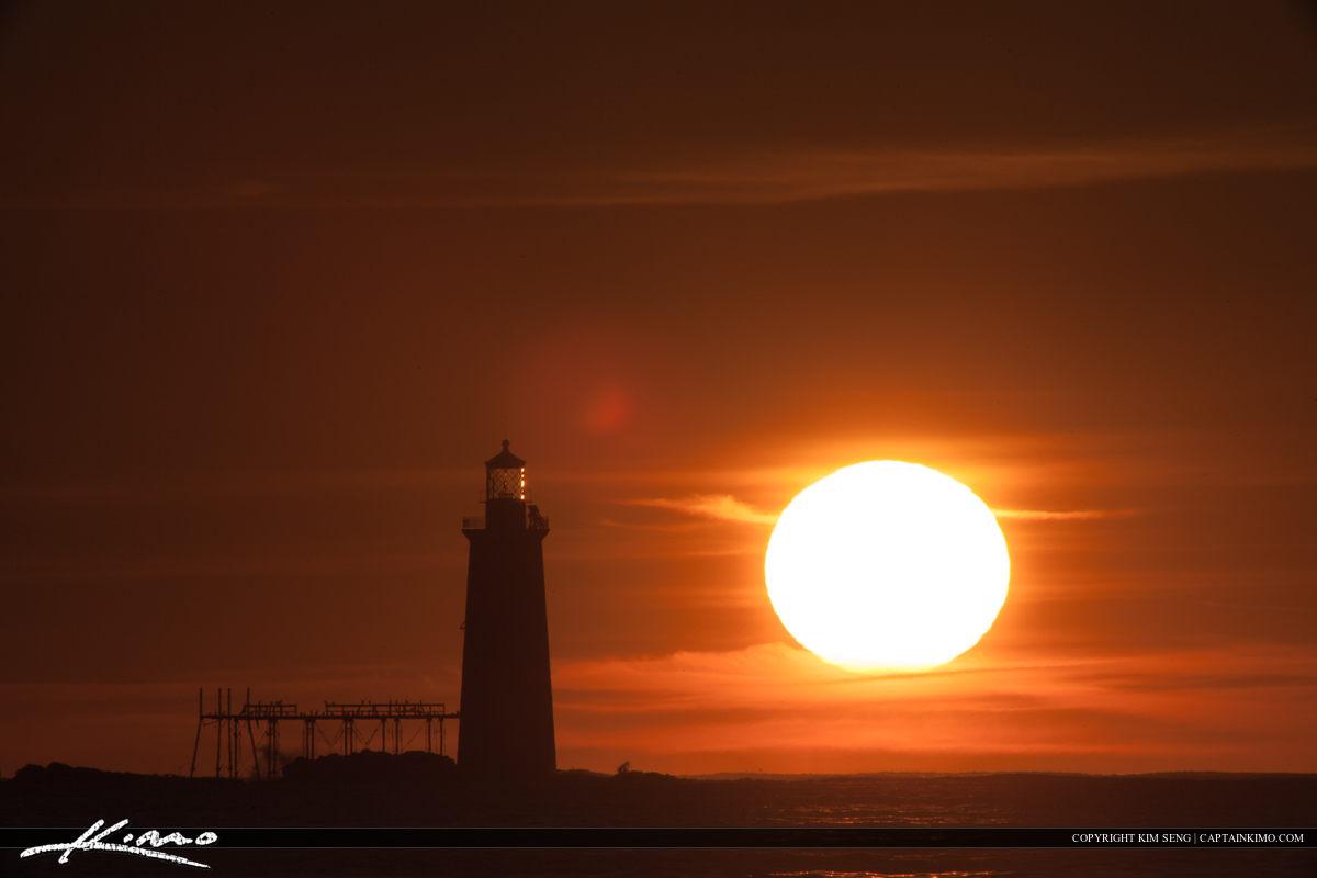 Ram Island Lighthouse Cape Elizabeth Sun Over Ocean