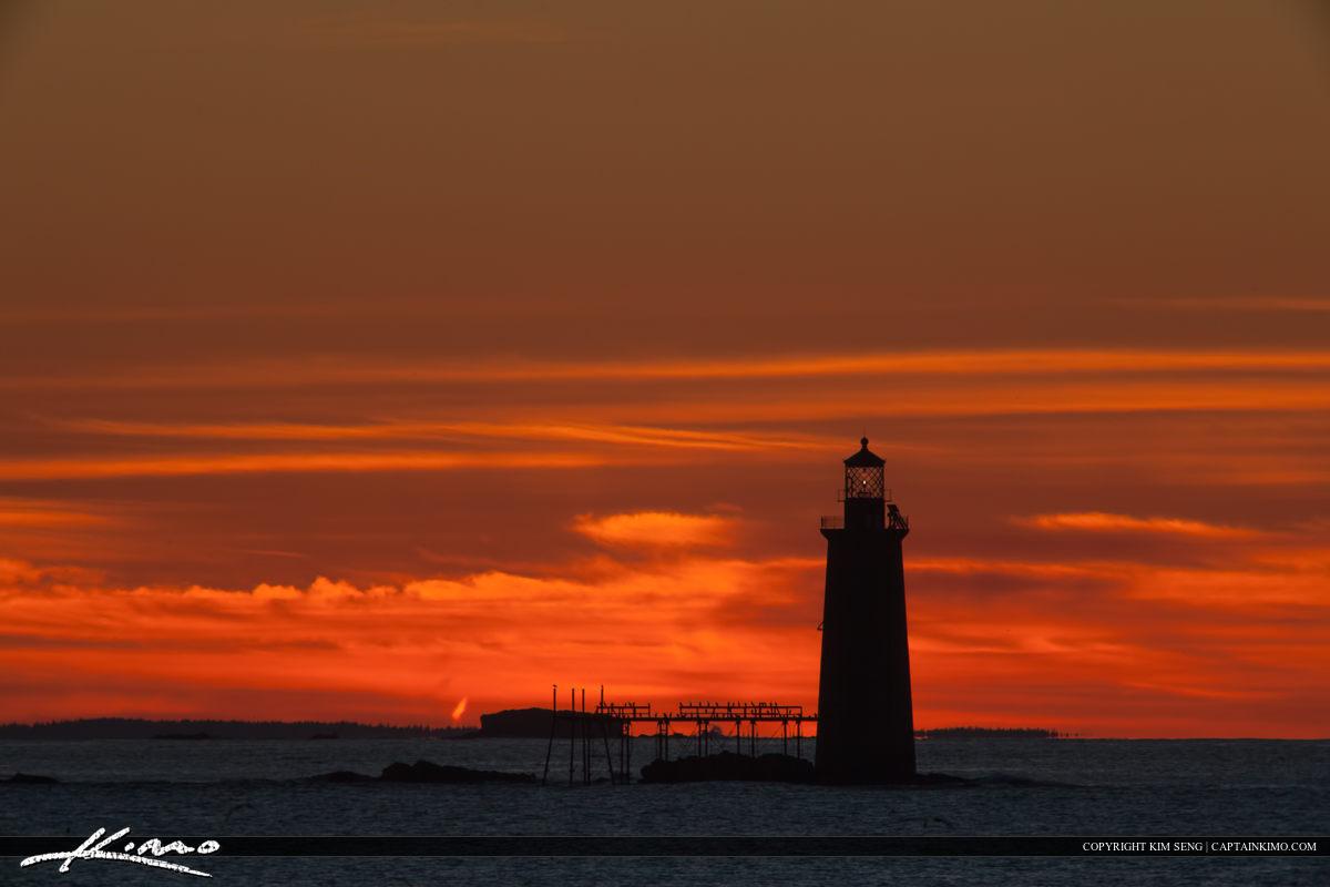 Ram Island Lighthouse Cape Elizabeth Maine Firey Sky