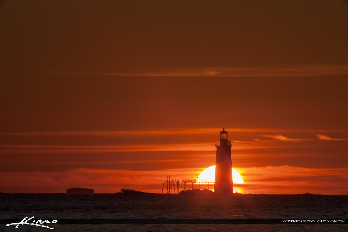 Ram Island Lighthouse Cape Elizabeth Firey Sunrise