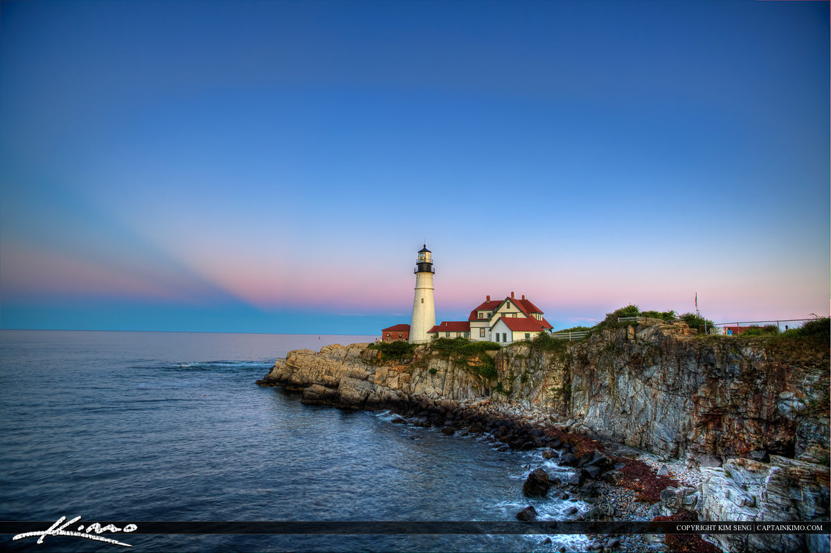 Portland headlight at Cape Elizabeth with rich colors