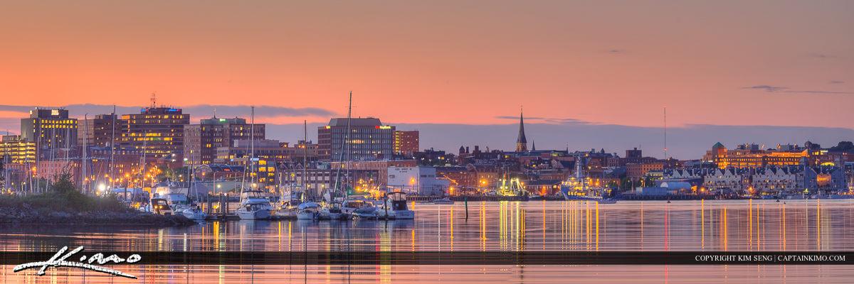 Portland Harbor Maine City Skyline