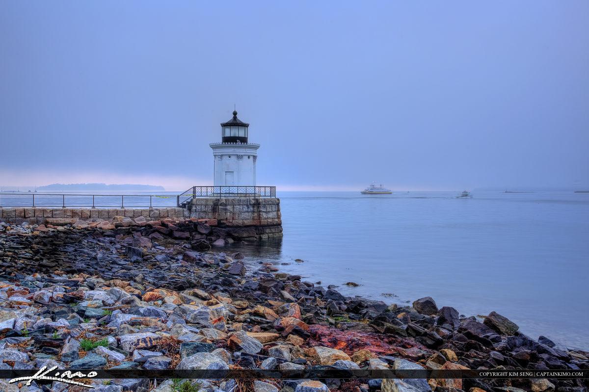 Portland Breakwater light South Portland Maine foggy day