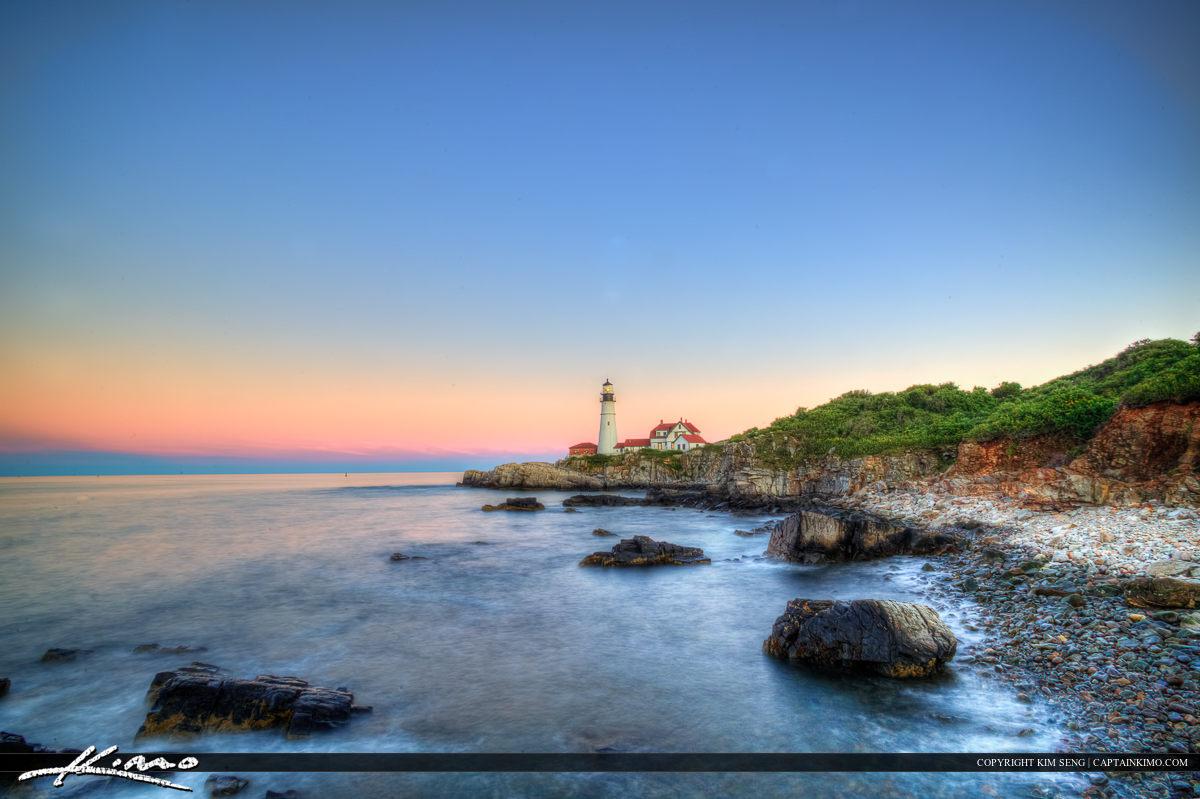 Pink sky at Cape Elizabeth Portland Maine lighthouse