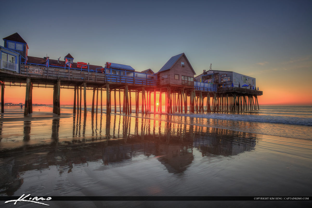 Old Orchard Beach pier sunrise with nice reflection