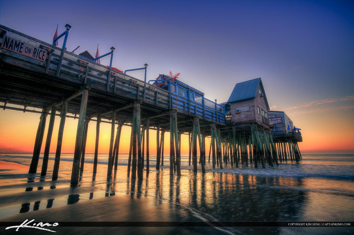 Old Orchard Beach Pier Maine Morning Sunrise