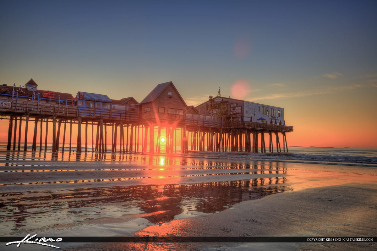 Old Orchard Beach pier color full sunrise