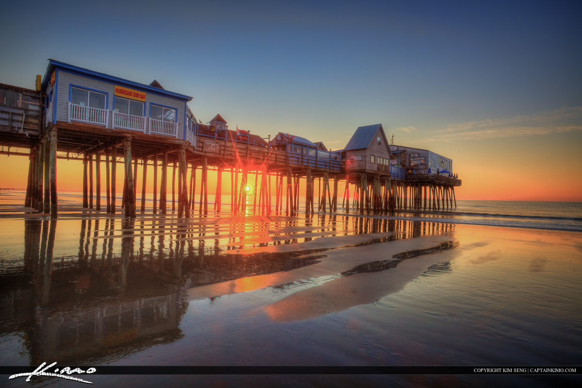 Old Orchard Beach pier along the coast in Maine